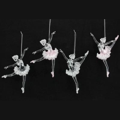 Gisela Graham - Stupenda decorazione per albero di Natale, disegno ballerina rosa/trasparente, in acrilico, confezione da 4