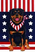 Rottweiler - by Tomoyo Pitcher, Patriotic Themed Dog Breed Flags 12 x 18