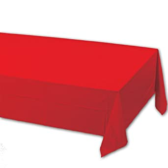 Creative Converting 71-1031B 108-Inch Length by 54-Inch Width Classic Red Color Plastic Lined Table Cover (Case of 24)