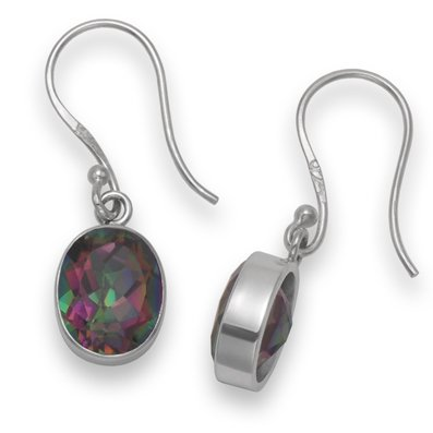 Sterling Silver Mystic Quartz oval drop earring - SIZE: 8mm x 10mm 7287MQ . Shipped in our Quality Silver Gift Box by 1st class mail