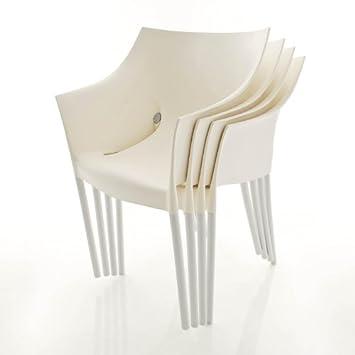 kartell dr no stuhl set 4 st hle wachs wei. Black Bedroom Furniture Sets. Home Design Ideas