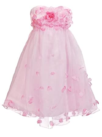 Artwedding Empire Knee Length Bridesmaid Dress with Flower and Petal,Pink(as picture),4