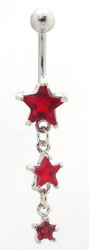 Pierced & Modified - Body Jewellery Belly Bars - Triple Star Dangle Navel Bar - Red