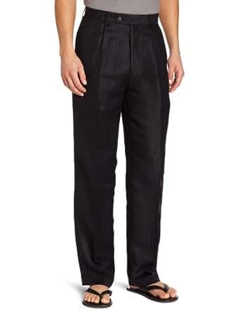 Cubavera Men's Blend Herringbone Textured Dress Pant, Jet Black, 30x30