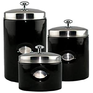 amazon com black contempo canisters set of 3 kitchen black kitchen canisters flairs piece black canister set