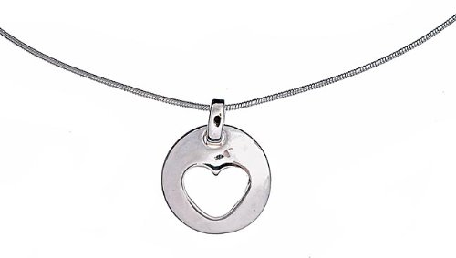 Sterling Silver Stencil Heart Necklace 16