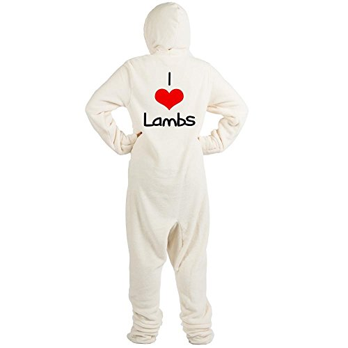 CafePress - I-Heart-Lambs.Png - Novelty Footed Pajamas, Funny Adult One-Piece PJ Sleepwear (Funny Onesie Adults)