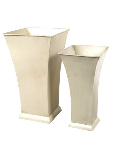 Fantastic Craft Square Vase, 5 by 10-Inch/7 by 12-Inch, Cream, Set of 2