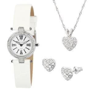 Pierre Cardin Ladies White Leather Strap Stainless Steel Designer Watch & Crystal Pendant Necklace