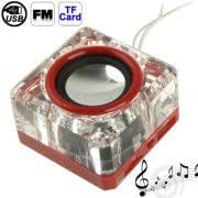 Mini Card Reader Crystal Speaker with Lanyard Light, FM Radio Function, Support TF Card and USB Flash Disk(Red)
