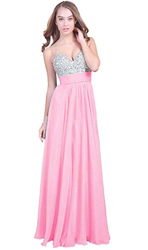 Fanhao Women's V Neck Sequins Chiffon Bridal Evening party Long prom dress,Pink,2