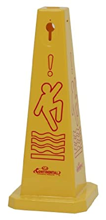"CMC 221YW Quad-Cones ""Caution"" Cone with Universal Caution Symbol, Yellow, 26"" Height (Case of 3)"