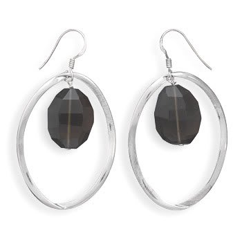 Oval Faceted Smoky Quartz Earrings