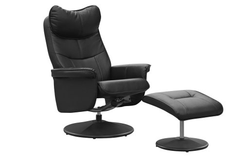 Global Furniture Alliance Amsterdam Faux Leather Recliner Chair and Footstool, Black