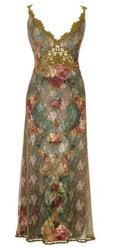 Gorgeous Empire V-Neck Dress Beautifully Designed by Michal Negrin Made of Printed Lace, Pom Pom Trim and Flower Pattern; Handmade in Israel - Size S