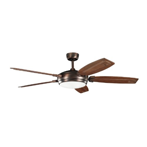 Kichler Lighting 300156OBB Trevor 60-Inch Ceiling Fan, Oil Brushed Bronze Finish with Walnut Stained Solid Wood Blades and Integrated Light Kit