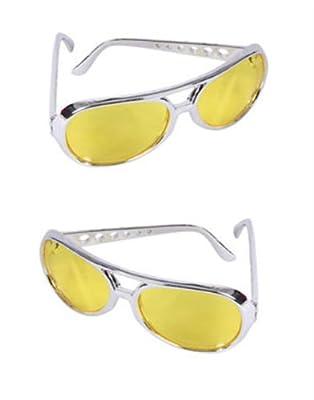 Yellow Lens Silver Frame Elvis Aviator Rocker Glasses