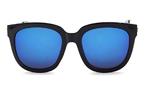 Unisex jts9244Oversized spessore bordo in metallo Aviator Occhiali da sole arancione C1-black+blue