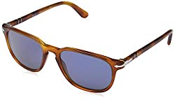Persol Men's 0PO3019S 96/56 55 Square Sunglasses,Light Havana Frame/Blue Lens,One Size