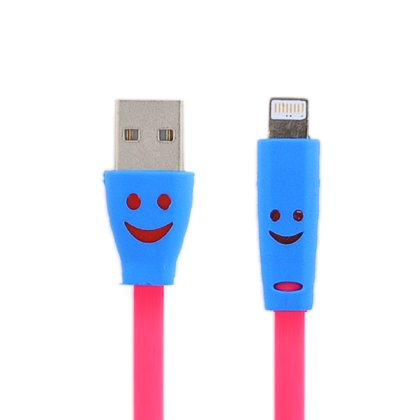 Cell Accessories For Less (Tm) For Apple Iphone 5/5S/5C/Lite Smiley Face Led Usb Sync Charger Flat Cable, Hot Pink W/Retail Package + Bundle (Stylus & Micro Cleaning Cloth) - By Thetargetbuys