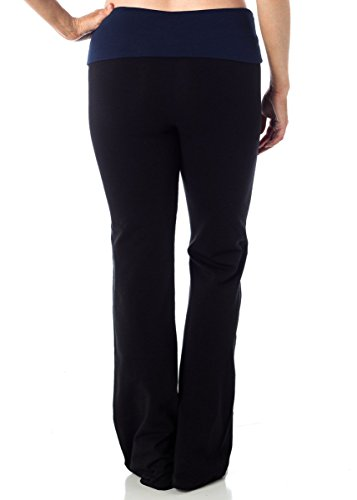 Alki'i Women's Cotton Lycra Fold over Yoga Pant lycra cotton