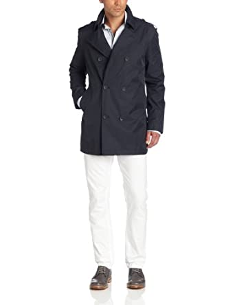Kenneth Cole New York Men's Double Breasted Pea Jacket, Gray, 36 Regular