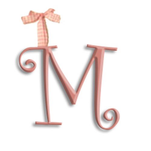 aBaby Curlz Hanging Letters with Gingham Ribbon, M, Princess Pink