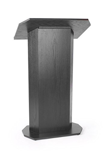 Displays2Go 49-Inch-Tall Floor-Standing Lectern Podium With Knockdown Design For Mobility - Black Laminate (Lctcvkdbk)