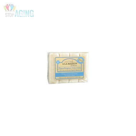 A La Maison French Hypoallergenic Unscented Bar Soap Value Pack -- 3.5 oz Each / Pack of 4