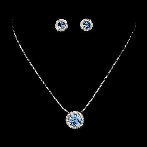 Silver Blue Crystal Pendant Bridal Wedding Necklace Earring Set