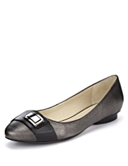 Autograph Leather Wide Fit Metal Trim Pumps with Insolia Flex®
