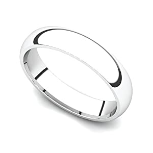 Platinum 4mm Classic Plain Comfort Fit Wedding Band Ring, 8