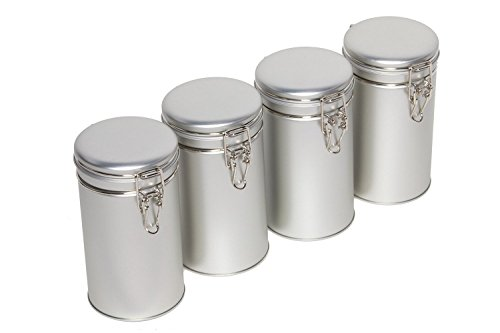 Latching Tea Tin, Tea Canister, Airtight Tea Container, Spice Storage Tins, Stainless Steel Coffee Canister w/ Airtight Latch Rubber Seal, 12 oz (Set of 4) (4) (Rubber Seal For Canister compare prices)