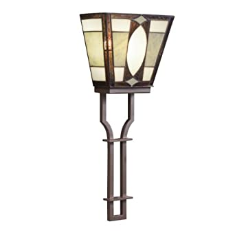 Kichler Lighting 69121 1-Light Denman Art Glass and Stone ADA Compliant Wall Sconce, Olde Bronze