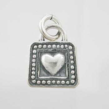 Little Double Sided Heart Charm with Decorative Dot Border in Sterling Silver, #9209