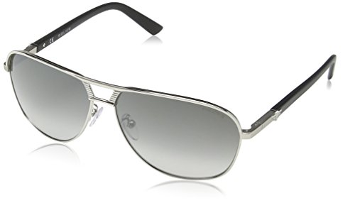 Police - Occhiali da sole S8849 Flash 2 Aviatore, Uomo, SHINY PALLADIUM WITH MATT PARTS FRAME / SMOKE GRADIENT MIRROR LENS