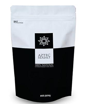Aztec Coarse Unrefined Sea Salt 100% Natural Gourmet Kosher, 8oz by Salt Revolution