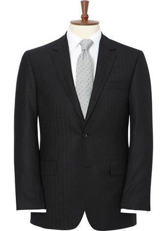 Austin Reed Regular Fit Black Herringbone Jacket SHORT MENS 38