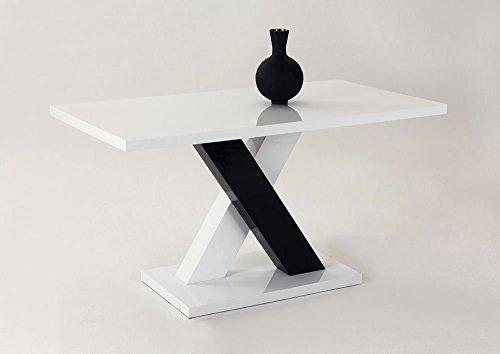 Sulentisch-Esstisch-Kchentisch-Esszimmertisch-Tisch-wei-schwarz-Hochglanz-X-Form-140-x-80-cm