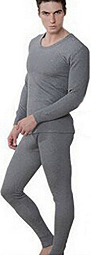Freedi Men Milk Fiber Crewneck Fleece Thermal Top and Bottom Set Leggings