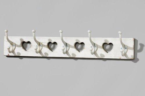 Garderobenleiste-Hakenleiste-mit-4-Aussparungen-in-Herzform-aus-Holz-5-Haken-ca-65-cm-x-9-cm-x-13-cm-Shabby-Look