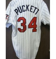 Signed Puckett, Kirby (Minnesota Twins) Authentic Russell Minnesota Twins Jersey on the back number size 44 (Has some dirt stains on it) autographed