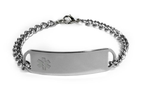 Penicillin Allergy Medical Id Alert Bracelet With Embossed Emblem From Stainless Steel. D-Style, Premium Series.