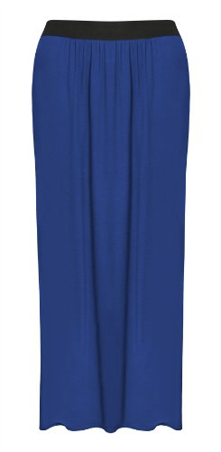 Womens Plus Size Long Plain Stretch Bodycon Gypsy Jersey Maxi Dress Ladies Skirt - Royal Blue - Uk20/22 - (95% Viscose, 5% Elastane) back-935167