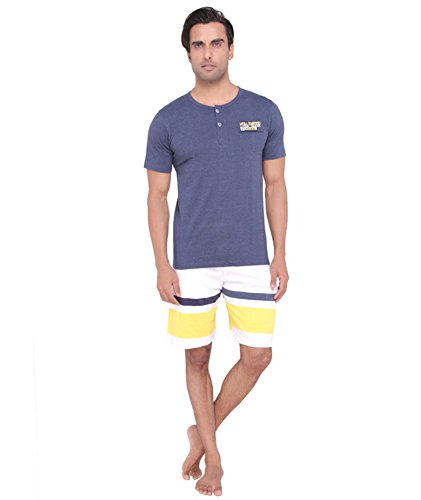 Valentine-Mens-Casual-Blue-color-Front-Button-Top-Shorts-Set