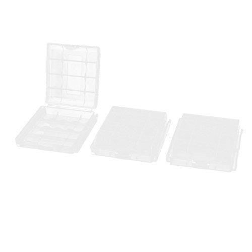 3 Pièces emballé Plastique Transparent 4 x AA/AAA Compartiment À Piles Stockage De Support