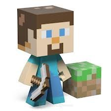 Minecraft Diamond Steve Pickaxe And Grass Block 6 Vinyl Figure from Spin Master