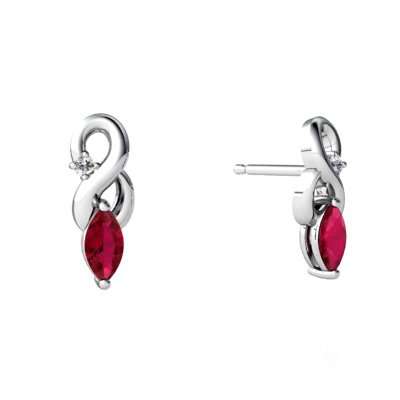 Created Ruby 14ct White Gold Earrings