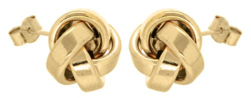 9ct Yellow Gold Large Rectangular Tube Knot Stud Earrings