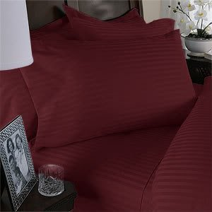 Luxurious Burgundy Damask Stripe, Queen Size, 1000 Thread Count Ultra Soft Single-Ply 100% Egyptian Cotton, Extra Deep Pocket Four (4) Piece Bed Sheet Set With 2 Pillow Cases 1000Tc